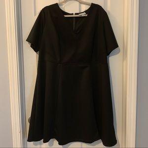 AVA-VIV Black Plus  2X Black  A-line Dress.
